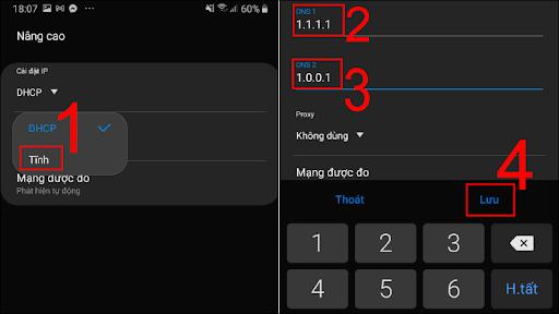 Các thao tác đổi DNS trên điện thoại hệ điều hành Android.