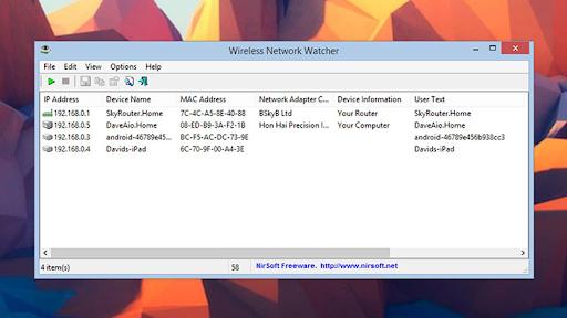 Wireless Network Watcher được phát hành bởi NirSoft Freeware.